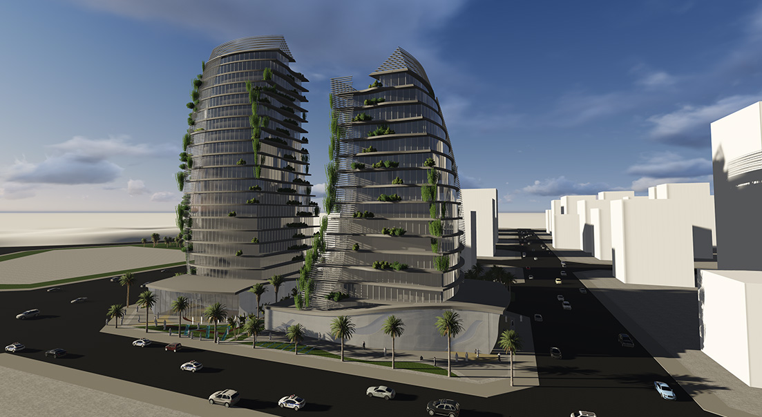 Al Kharaej Tower consept for shops - offices and residential in Qatar